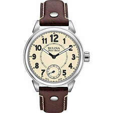 Bulova Gemini Stainless Steel and Brown Leather Men's Casual Watch 63A121