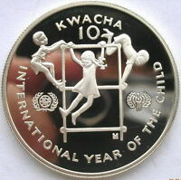 Zambia 1980 Year of Child 10 Kwacha Silver Coin,Proof