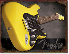 """Fender"" Guitar, Make History, Tin Sign 12"" X 16"" for the Home, Bar, Man Cave"