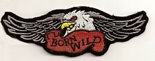 BORN WILD EAGLE EMBROIDERED IRON ON BIKER PATCH
