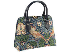 Signare Ladies Tapestry Handbag / Shoulder Bag In Strawberry Thief Blue Design