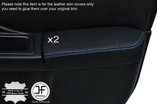 BLUE STCH 2X FRONT DOOR ARMREST LEATHER COVER FOR SUBARU IMPREZA WRX STI 01-04