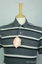Ralph Lauren Para Hombres Camisa Polo en gris de rayas Urbano Vintage años 90 Festival