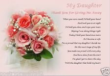 DAUGHTER - Thank you for GIVING ME AWAY- personalised wedding poem