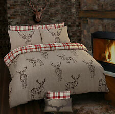 NATURAL COUNTRY STAG RED TARTAN CHECK REVERSIBLE SINGLE BED DUVET COVER SET
