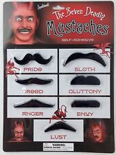 Evil Mustache Pack 7 Self Adhesive Costume Party Theater Moustache Hitler Satan
