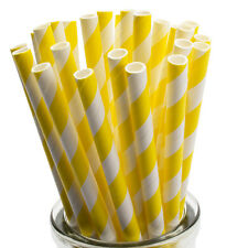 Yellow Stripe Paper Straws x 25 Retro Drinking Cocktail Party Barbecue