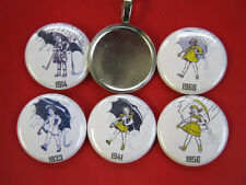 Morton Salt Girl 5 Interchangeable   Magnetic New  Pendant w/Black  Necklace