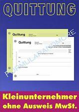 8 x QUITTUNGSBLOCK für Kleinunternehmer,SD,2x50 BLATT,QUITTUNGEN,Quittungsblöcke