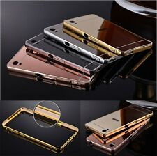 Luxury Mirror Back Cover+Metal Aluminum Frame Case For Sony Xperia Phone