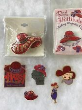 LOT OF 7 DIFFERENT RED HAT SOCIETY PINS BROOCH LIMITED EDITION + SOME NEW