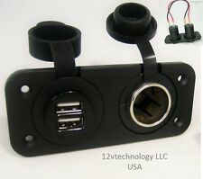 Waterproof Dual USB Charger and 12V Heavy Duty High Power Socket, Dash RV Marine