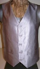 "GRAY SATIN VEST Mens Sz S by IL Canto 5-Button Stripe-Lining & Back - 39"" Chest"