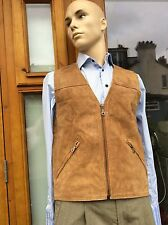 VIntage Mens Suede Leather Waistcoat 43 Inch Size L By BREAK
