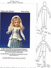 """8""""ANTIQUE FRENCH BRU JNE 6 DOLL CLOTH BODY w/FEET@1880 DRESS&HAT&SHOES PATTERN"""