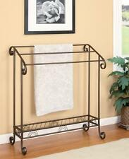 Classic Antique Dark Bronze Finish Curved Metal Accent Blanket Quilt Towel Rack