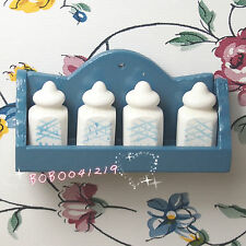 Dollhouse Miniature Toy 1:12 kitchen blue wooden wall shelf with castor PL1338