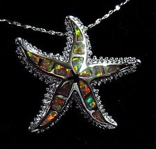 "Silver 925 Filled Pendant & Necklace Orange Lab Fire Opal Large 1 1/4"" STARFISH"