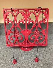 """Vintage Style Red Cast Iron 10"""" x 8.5"""" Cookbook Stand With Weighted Strings"""