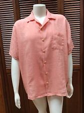 FLAX By Jeanne Engelhart Light Coral Linen Blouse Oversized Camp Shirt Medium M