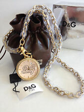 MEN WOMEN'S DOLCE & GABBANA D&G SECRET SERVICE GOLD POCKET WATCH w/ CHAIN DW0262