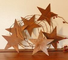 RUSTY STARS TIN GARLAND 3 1/2 inch STARS on RUSTY TIN WIRE PRIMITIVE Home Decor