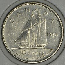 CANADA 10 CENTS 1974 ROTATED DIE -circulated