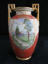 ANTIQUE NIPPON JAPAN HAND PAINTED SCENE GOLD GILT PORCELAIN VASE M wreath mark