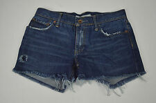[62 61] RUGBY RALPH LAUREN MEDIUM BLUE BOOTCUT FRAYED DENIM JEAN SHORTS SIZE 28