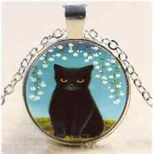 Black Cat With Flower Cabochon Glass Tibet Silver Chain Pendant Necklace#D10