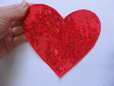 1 large red love heart patch sequin applique iron on hotfix 14 x 13cm