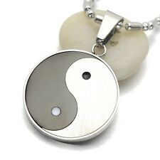 Silver Tone Black Stainless Steel Yin Yang Taichi Pendant Necklace 60CM Long