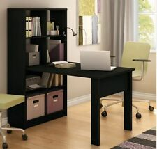 Black Desk and Bookcase Combo Cubby Storage Study Room Table Student Office