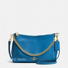 New Coach F36666 Carrie Crossbody In Pebble Leather Bright Mineral Blue NWT