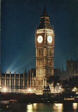 Alte Postkarte - London by Night - Houses of Parliament