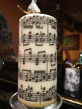 "MUSIC SHEET/ ""Musica"" Design Hand Decorated Pillar Candle 36hrs"