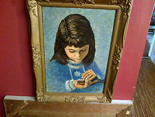 Fine 20th c,Framed English Oil on Board.Girl Cradling a Swallow Study. Signed.