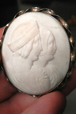 Antique Italian Hand Carved Shell Cameo Gold Mount Brooch Victorian