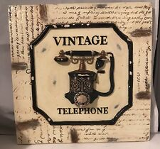 Vintage Telephone Ceramic Wall Sign Plaque Rotary Dial Push Button