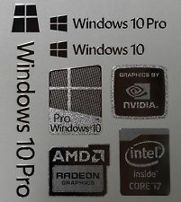 Windows 10 Pro Combo Badge Metal Sticker, PC/Laptop Intel Core i7/AMD/Nvidia