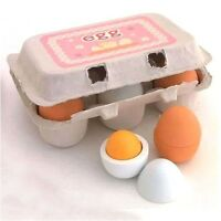 6pcs Set Wooden Eggs Yolk Pretend Play Kitchen Food Cooking Kid Toy Child Gift