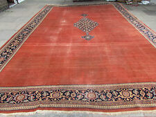 Antique Shabby Chic Hand Made Turkish Terracotta Wool Large Carpet 547x372cm