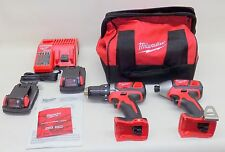 "Milwaukee M18 Compact Combo Kit 2691-22 Drill/Driver 1/2"" Hex Impact Driver NEW"