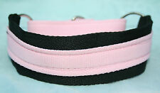 "Martingale Lurcher Dog Collar Black Baby Pink 12-17"" Soft Equine Strong Webbing"