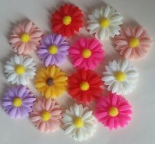 10 RESIN DAISY FLOWERS 22mm ~ FLATBACKED FLOWER CABOCHONS ~ Assorted Colours