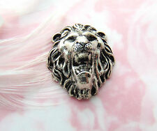 SILVER Roaring Lion Stamping - Jewelry Antique Silver Findings (CA-3024) `