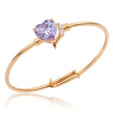 18K Gold Plated Lilac Heart Cz Toddlers Baby Kids Cuff Bangle Bracelet Jewellery