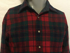 VTG Pendleton Tartan Plaid Flannel Virgin Wool Size Small Red Green USA Made