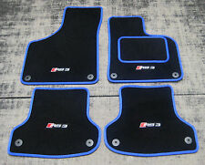 Black Car Mats w/ Blue Trim to fit Audi RS3 8P (2011-2012) + RS3 Logos (x4)