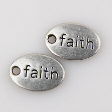 "70Pcs Wholesale Zinc Alloy ""Faith"" Charms Pendants 14x10mm 1A1875"